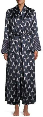 Olivia Von Halle Capability Rocky Print Long Silk Robe