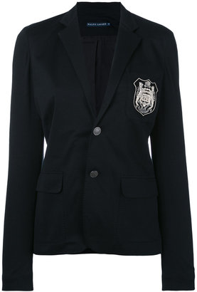 Ralph Lauren embroidered emblem blazer $373.30 thestylecure.com