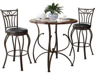 CorLiving Jericho 3-Piece Counter Height Glossy Brown Barstool and Bistro Table Set