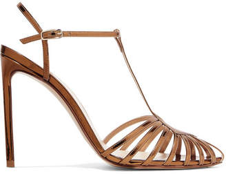 Francesco Russo Cutout Mirrored-leather Sandals - Gold