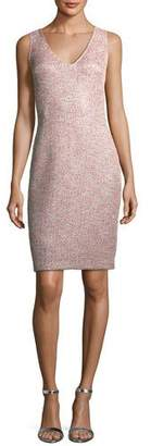 St. John Metallic Eyelash-Knit Cocktail Sheath Dress