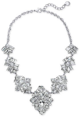 "Charter Club Silver-Tone Crystal Cluster Statement Necklace, 17"" + 2"" extender, Created for Macy's"