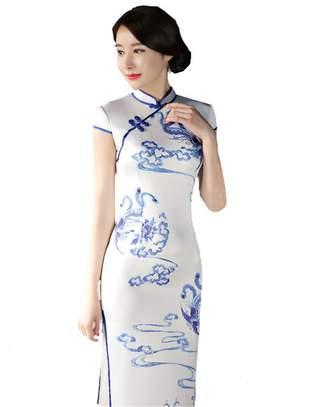 story. Shanghai Long Cheongsam Faux Silk Qipao Traditional Chinese Dress M