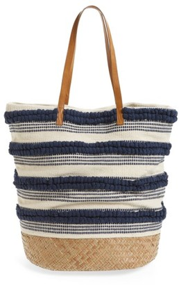 Sole Society Woven Bottom Tote - Blue $79.95 thestylecure.com
