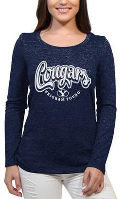 NCAA Brigham Young Cougars Funky Script Women'S/Juniors Team Long Sleeve Scoop Neck Shirt
