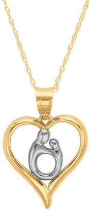 Simply Gold 10kt Polished Heart Mother and Child Pendant, 18""