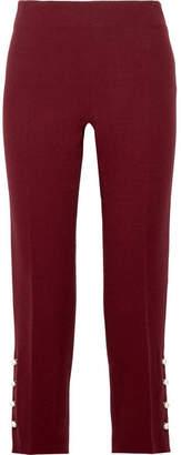 Lela Rose Faux Pearl-embellished Wool-blend Crepe Slim-leg Pants - Burgundy