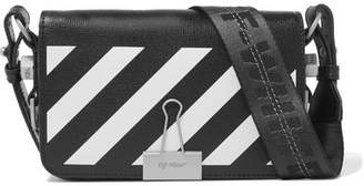 Off-White Mini Striped Textured-leather Shoulder Bag - Black