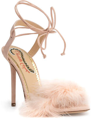 Charlotte Olympia Light pink 100 feather sandals