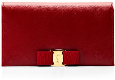 Salvatore Ferragamo Miss Vara Bow Clip Leather Clutch