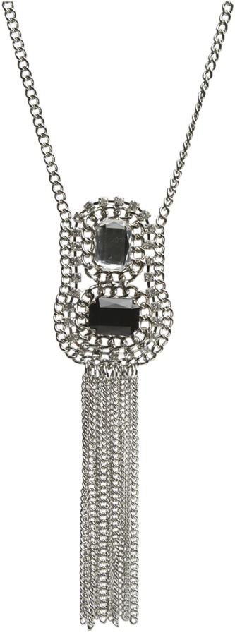 Arden B 2 Stone Chain Fringe Necklace