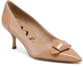 Leather Pointy Toe Low Heel Pumps