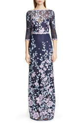 Marchesa Embroidered Floral Sheath Gown