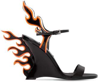 Prada 110mm Flames Patent Leather Wedges
