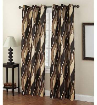 No. 918 Intersect 84-Inch Grommet Top Window Curtain Panel in Charcoal