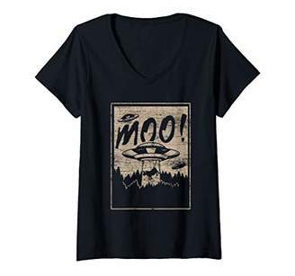 Womens Cowboy Astronaut Space Moo Cows Cow V-Neck T-Shirt