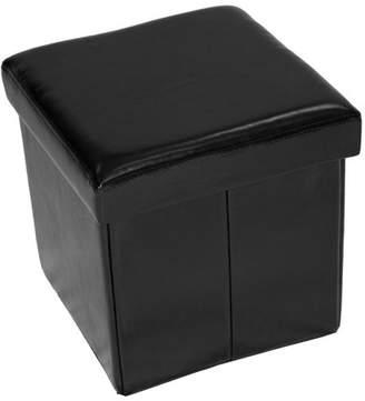 Home Source Black Folding Storage Ottoman