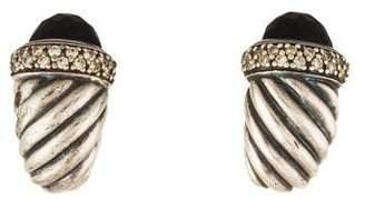 David Yurman Onyx & Diamond Shrimp Clip-On Earrings