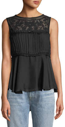 Leon Max Embroidered Silk Babydoll Tank
