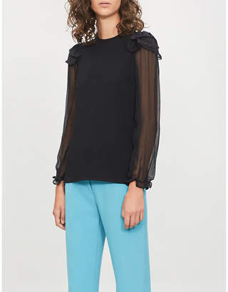 See by Chloe Trim-embroidered crepe top