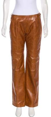 Gianfranco Ferre Leather Mid-Rise Pants