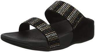 a18b8c933fc6 FitFlop Women s Flare Strobe Slide Sandals Open Toe (Black)