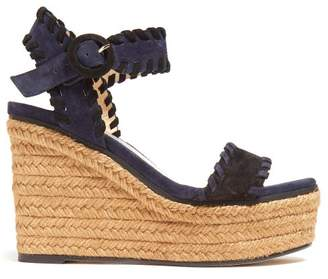 Jimmy Choo Abigail 100 Suede Wedge Sandals - Womens - Black Navy