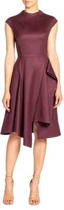 Santorelli Cap-Sleeve Stretch Wool Dress w/ Asymmetric Skirt Drape