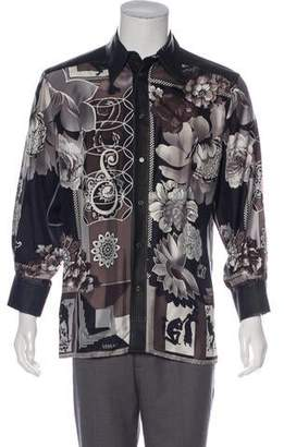 Versace Leather Panel Silk Floral Shirt