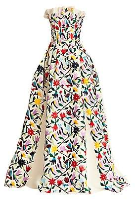 Carolina Herrera Women's Floral-Print Pleated Silk Ball Gown