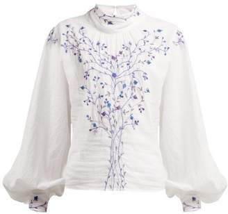 Thierry Colson Teresa Embroidered High Neck Blouse - Womens - White Navy