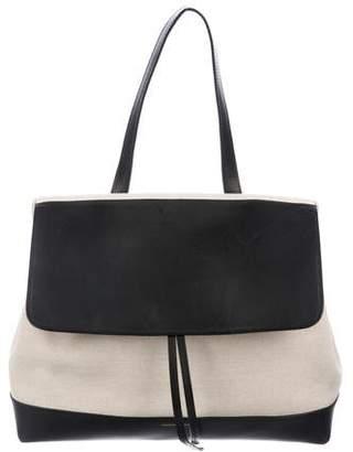 Mansur Gavriel Leather-Trimmed Canvas Lady Bag
