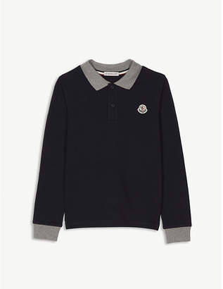 Moncler Tipped collar long-sleeved cotton polo shirt 4-14 years