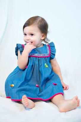 Cutie Pie Baby Embroidered-Yoke-Pom-Pom-Fringe Chambray Dress