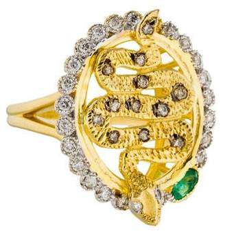 Farah Tanya 18K Emerald & Diamond Serpent Cocktail Ring