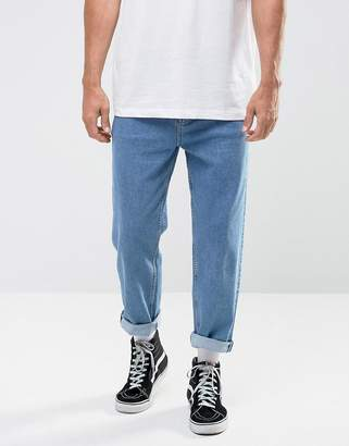 Asos Skater Jeans In Mid Wash Blue