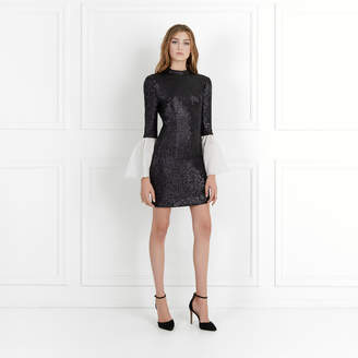 Rachel Zoe Wes Bell-Sleeve Fluid Sequin Dress