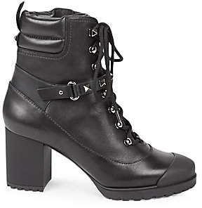 Valentino Garavani Women's Rockstud Leather Stacked-Heel Combat Boots