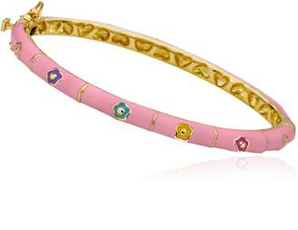 Little Miss Twin Stars Outfit Makers 14k Gold-Plated Pink Bangle With Multi Color Flowers & Gold Lines