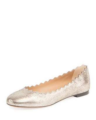 Chloé Lauren Scalloped Metallic Leather Ballet Flats