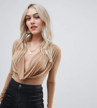 Missguided Petite slinky cowl body in camel