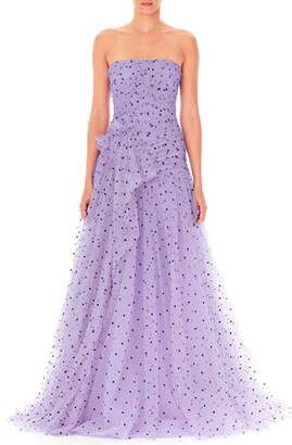 Carolina Herrera Strapless Heart-Print Draped Tulle Gown