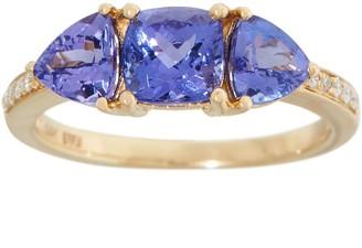Tanzanite and Diamond Three Stone Ring, 2.00 cttw, 14K