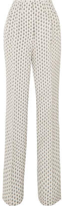 Etro Printed Silk Crepe De Chine Wide-leg Pants - Ivory