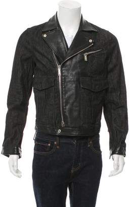 DSQUARED2 Leather-Trim Denim Moto Jacket