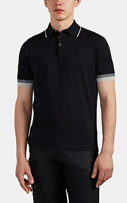 Fioroni Men's Contrast-Tipped Cotton-Cashmere Polo Shirt - Black