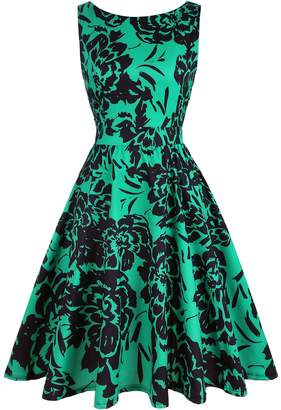 OWIN Women's 1950s Vintage Floral Swing Party Cocktail Dress with Butterfly Pattern (XXL, )