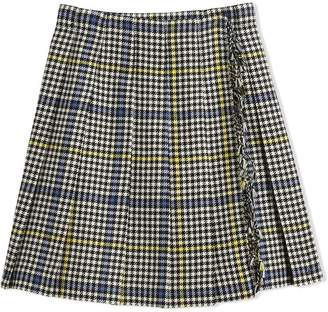 Burberry Fringe Detail Houndstooth Check Wool Kilt