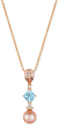 LeVian Le Vian Multi-Gemstone (2-1/2 ct. t.w.), Cultured Freshwater Pearl (10mm) and Diamond (1/6 ct. t.w.) Pendant Necklace in 14k Rose Gold