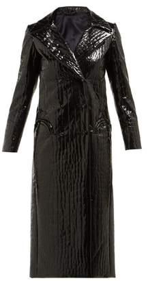 BLAZÉ MILANO Black Caviar Crocodile Effect Double Breasted Coat - Womens - Black